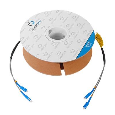 Carrete de Fibra Óptica Monomodo con conectores SC-SC Duplex, Reforzada con Kevlar, de 50 metros