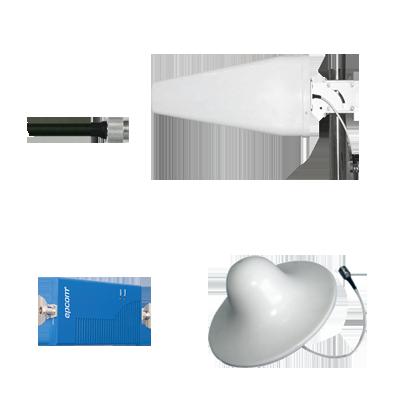 Kit de Amplificador de señal doble banda para celular 850 MHz y 1900 MHz, 70 dB de ganancia.