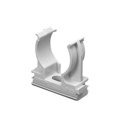 Soporte de presión (Abrazadera), PVC Auto-extinguible, abierto para tubería de 25 mm