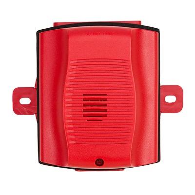Sirena para Exterior, Montaje en Techo o Pared, 12 a 24 Vcd, Color Rojo