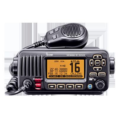 Radio Móvil Marino color negro, 25W, Tx:156.025-157.425MHz, Rx:156.050-163.275MHz, pantalla de matriz de puntos,compatible con GPS, capacidad de llamada selectiva DSC, canales CAN,USA,INT