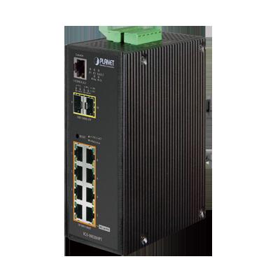 Switch Industrial Administrable Capa 2+ 8 puertos PoE 802.3at gigabit, 2 puertos SFP