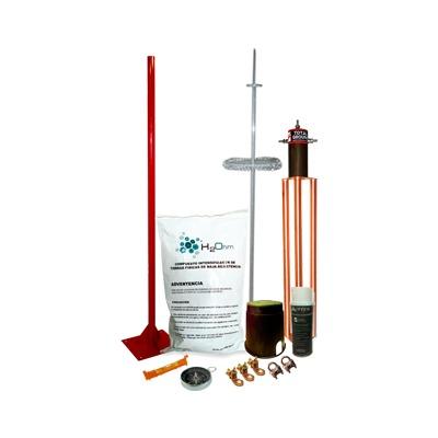 Kit de Pararrayo Dipolo con Electrodo y Accesorios de Instalación para Techo.