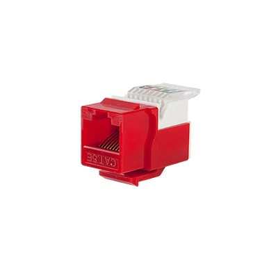 Módulo Jack Keystone Cat5e sin Herramienta (toolless) para faceplate - Color Rojo