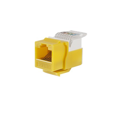 Módulo Jack Keystone Cat5e sin Herramienta (toolless) para faceplate - Color Amarillo