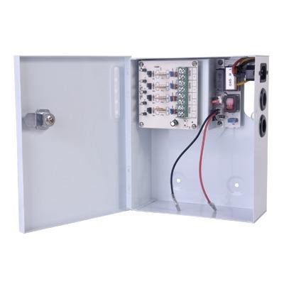 Fuente de poder profesional de 12 Vcd @ 4 A / para 4 camaras / Compatibilidad con bateria de respaldo / voltaje de entrada 96-264 Vca