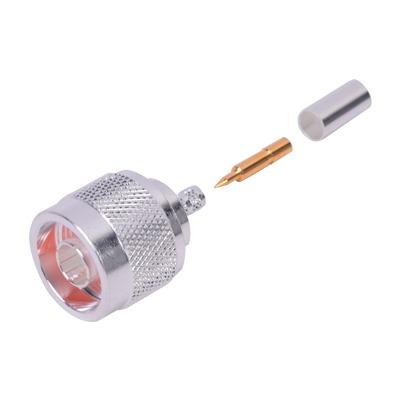 Conector Coaxial N Macho de Anillo Plegable para Cable RG-142/U, Plata / Oro / Teflón.