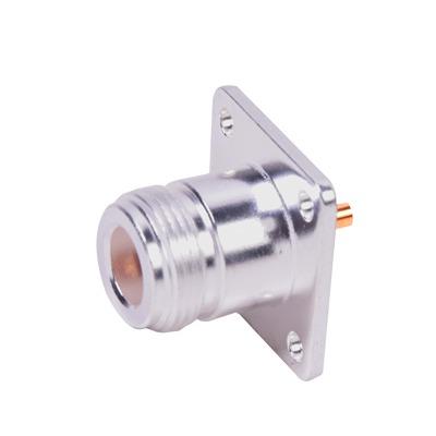 Conector N Hembra para Montaje Frontal en Panel con 4 Perforaciones a 18 mm, Plata/ Oro/ Teflon.