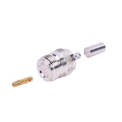 Conector N Hembra de Anillo Plegable para Cables RG-58/U, Níquel/ Oro/ Teflón.