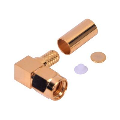 Conector SMA Macho Inverso en Angulo Recto de Anillo Plegable para Cables RG-58/U, RG-142/U, Oro/ Oro/ Teflón.