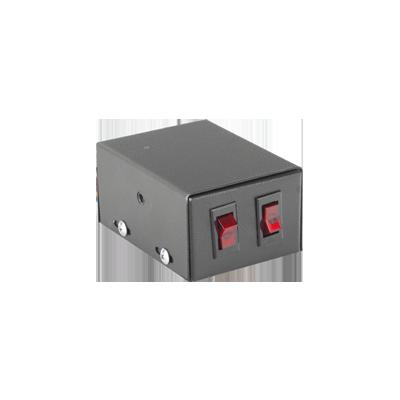 Gabinete metálico con 2 interruptores iluminados para barra de luces