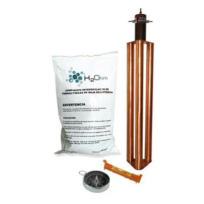 Kit de Puesta a Tierra de 100 Amperes con Electrodo, Filtro y Compuesto H2Ohm.