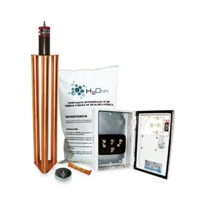 Kit de puesta a tierra de 100 Amperes con Electrodo, Filtro, Acoplador y Compuesto H2Ohm.