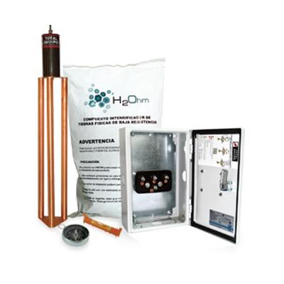 Kit de puesta a tierra de 45 A con Electrodo, Filtro, Acoplador y Compuesto H2Ohm.