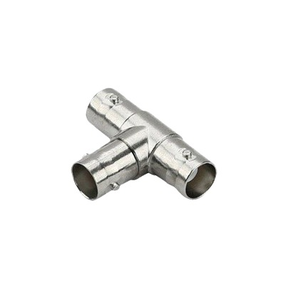 Conector tipo T triple BNC hembra para cable coaxial RG59/RG6