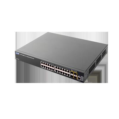 Switch Core Capa 3 de 24 Puertos 10-100-1000 Mbps con 4 Puertos SFP 1000 Mbps Compartidos + 2 Slots de Expansión 10G.