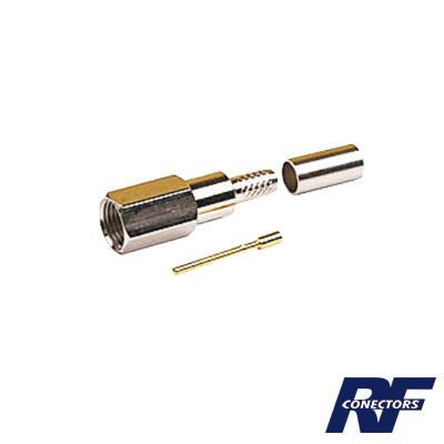 Conector FME Macho de anillo plegable para cable RG-58/U, Niquel/ Oro/ Teflón.