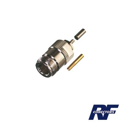 Conector N Hembra de Anillo Plegable para cable RG-316, Niquel/ Oro/ Teflón.