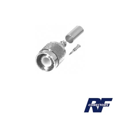 Conector TNC Macho de Anillo Plegable para Cables RG-58/U, RG-142/U, LMR-195, Niquel / Oro / Teflón.