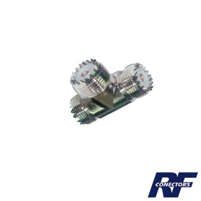 Adaptador de conector UHF Hembra (SO-239) a doble conector UHF Hembra.