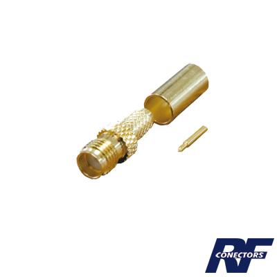 Conector SMA hembra inverso de anillo plegable para cable RG-58/U, Oro/ Oro Teflón.