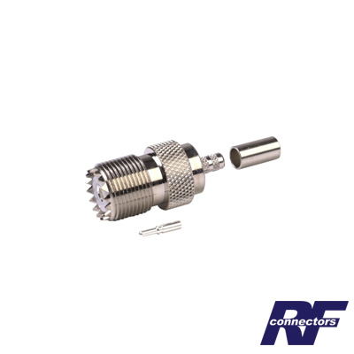 Conector UHF hembra (SO-239) de anillo plegable para cable RG-58/U, RG-142/U.