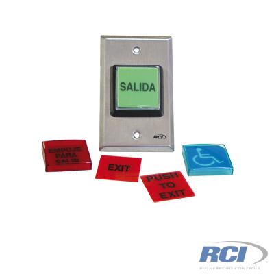 Botón de salida con placas intercambiables normalmente abierto y cerrado certificado UL