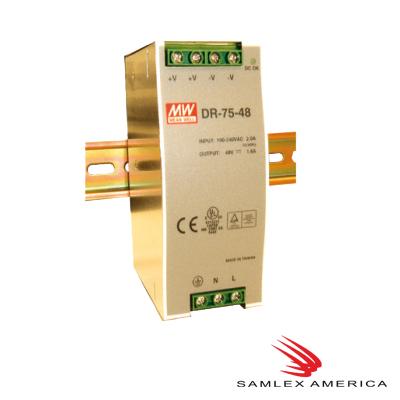 Fuente de poder 24Vcd, 75W, 3.2A, industrial conmutada montaje en din riel