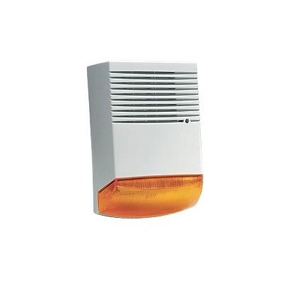 Sirena para exterior con unidad autocontenida, sirena y luz intermitente