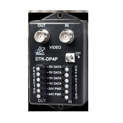 Protector para alimentación, datos y video para cámara PTZ de 12 Vcd-24 Vca, conector BNC y terminal