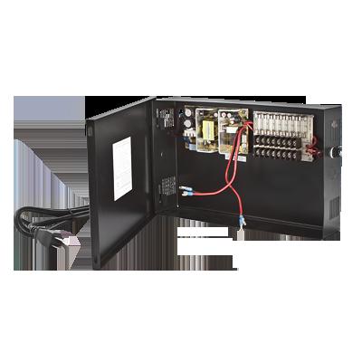 Fuente de Poder para CCTV de 8 Salidas a 12 Vcd. 4.8 Amp. con Respaldo de Baterías.