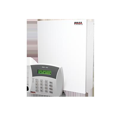 Panel de alarma Hibrido de 8 a 16 zonas soporta receptor inalámbrico y cuádruple comunicador ala central línea telefónica, Celular, radio o TCP-IP re quiere módulos