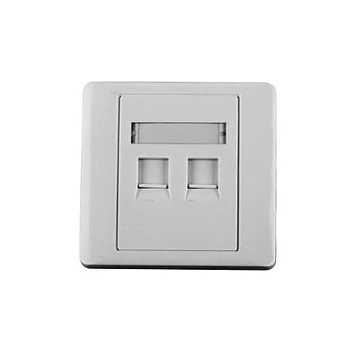 Tapa de pared, salida para dos puertos, con espacio para etiqueta - Blanco
