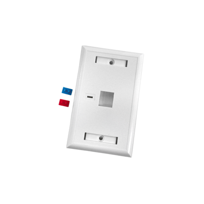 Placa de pared de 1 puerto con espacio para etiqueta - blanco