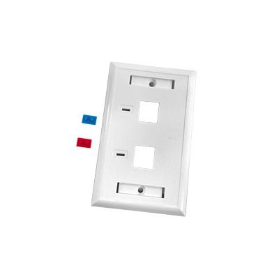 Placa de pared de 2 puertos, Keystone, con espacio para etiqueta, Color Blanco