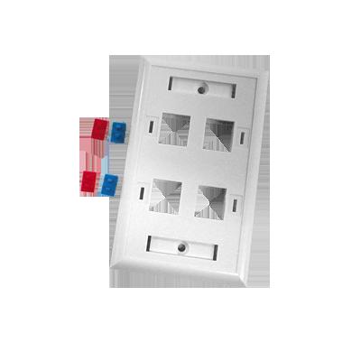 Placa de pared de 4 puertos con espacio para etiqueta - blanco