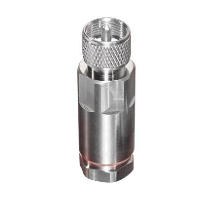 Conector UHF Macho (PL-259) de RF Industries, para Cable HELIAX de 1/2 LDF4-50A, Tipo Rosca, Bronce Blanco/ Plata/ Teflón.