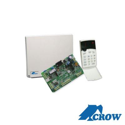 Panel de alarma híbrido de 4 a 8 zonas, soporta zonas inalámbricas, funciones de control de acceso, incluye teclado de leds y detector de movimiento SWANQUAD