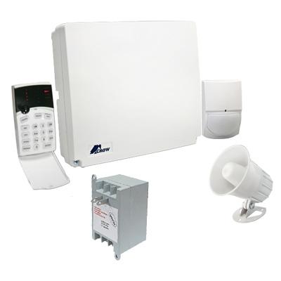 Kit de alarma 4-8 zonas con teclado de iconos, 1 detector de movimiento digital, transformador y sirena de 15 WATTS.