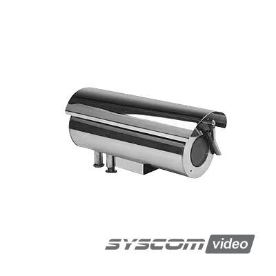 Gabinete para cámara cumple con norma anti explosión y norma de intrusión IP68 fabricado en acero inoxidable con limpiaparabrisas
