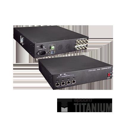 Video + poder + audio + datos, receptor de video pasivo + alimentación de 4 canales
