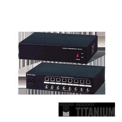 Video + poder: 300 m, receptor de video pasivo + alimentación de 8 canales