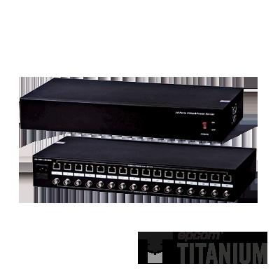 Video + poder: 300 m, receptor de video pasivo + alimentación de 16 canales