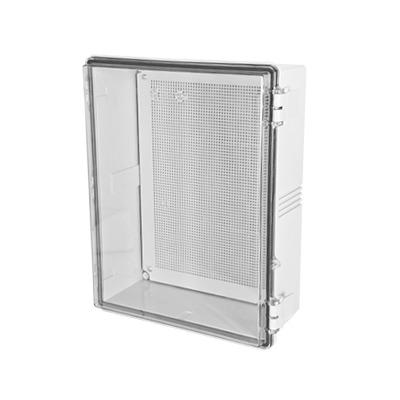 Gabinetes NEMA, cuerpo gris, cubierta transparente (350 x 450 x 200 mm), para interior y exterior, incluye panel