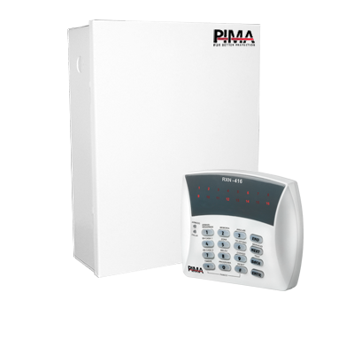 Panel de Alarma Híbrido, de 8 a 16 zonas. Soporta receptor inalámbrico y  cuádruple comunicador a la central de Monitoreo, línea telefónica, celular, radio o TCP-IP