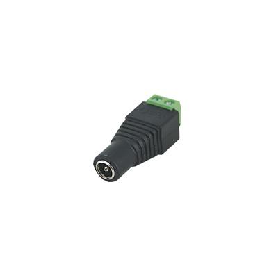 Adaptador tipo jack de 3.5 mm hembra polarizado de 12 Vcd con terminales tipo tornillo.