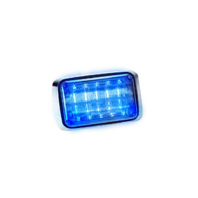 Luz de advertencia Quadraflare LED con flasher integrado y mica transparente, color azul