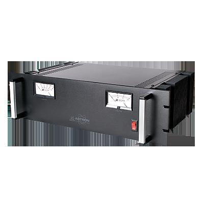 Fuente de poder  13.8Vcd, 50A, lineal regulada con circuito cargador de baterías, medidores, para instalación en rack
