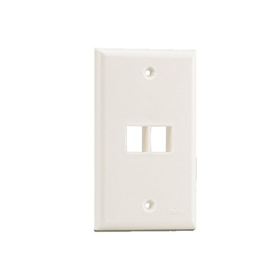 Placa de Pared Vertical, Salida Para 2 Puertos Keystone, Color Blanco Mate