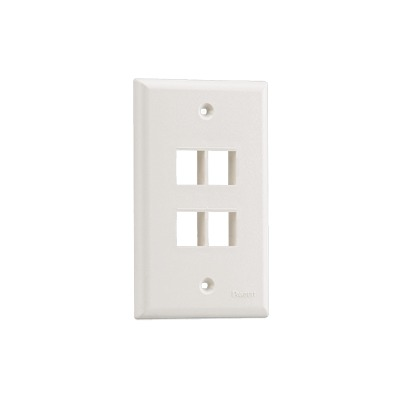 Placa de Pared Vertical, Salida Para 4 Puertos Keystone, Color Blanco Mate